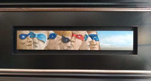Maskerade 1. Ooit gehoord van de Academie voor Interventiekunde? Nee, jammer want daar kun je dit prachtige schilderijtje nu zien.