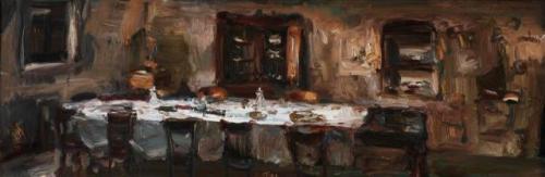 Italiaans restaurant. Dit schilderij hangt prachtig in een mooi oud huis.
